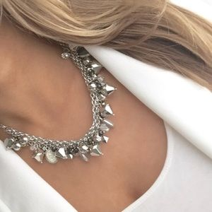 New York & Company silver charm bib necklace